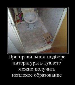 При правильном подборе литературы в туалете можно получить неплохое образование